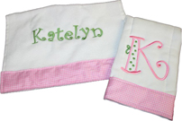 Sunny or Bow Fonts with Floral Trim Bib