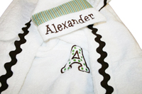 Green Polka Dots and Stripes Hooded Towel