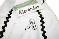 Green Polka Dots and Stripes Hooded Towel