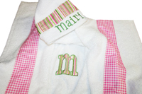 Pink and Green Stripes and Gingham Hooded Towel