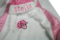 Pink Ladybug Dot and Gingham Hooded Towel