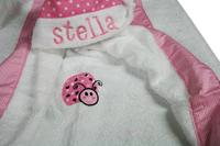 Pink Ladybug Dot and Gingham Hooded Towel