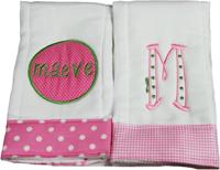 Preppy Pink or Green Burp Cloth