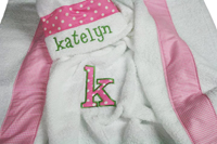 Sweet Pink Dots and Gingham Hooded Towel