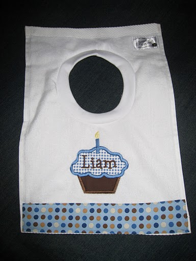 Birthday Boy Blue Polka Dot Cupcake Bib