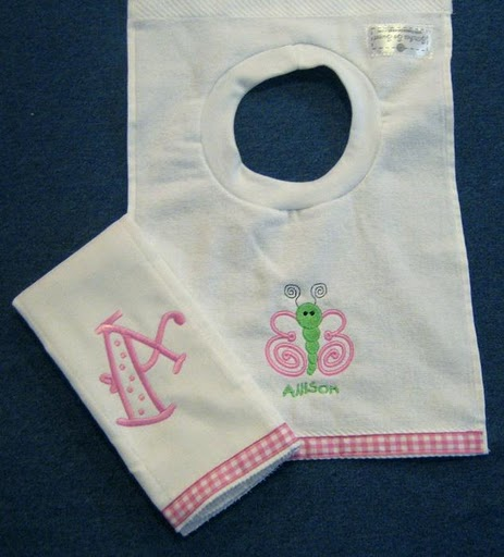 Pink & Green Gingham Butterfly Bib