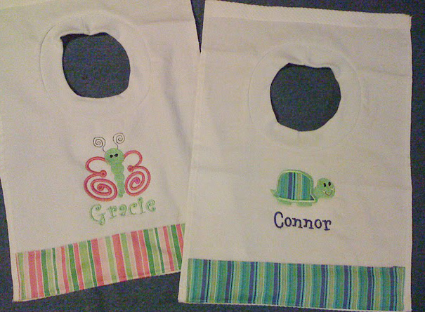 Bright Stripe Butterfly or Turtle Bib