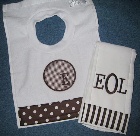 Upper Case Initial Appliqué Bib