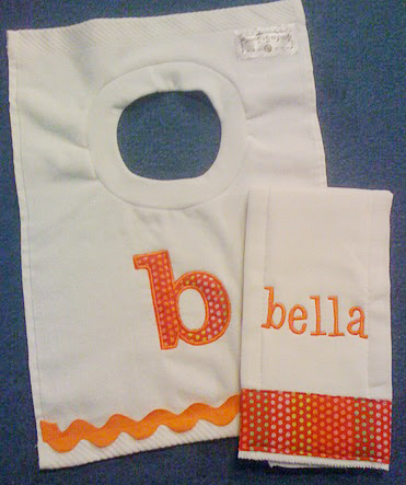 Orange Creamsicle Dots and Ric Rac Bib