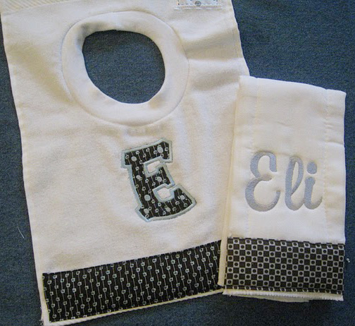 Retro Chocolate Brown and Light Blue Bib