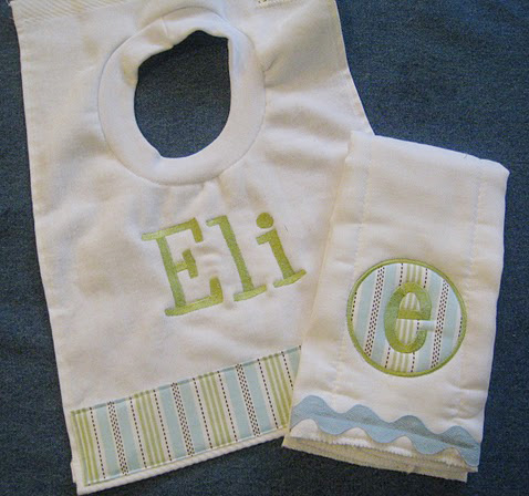 Boys Stitched Striped Bib