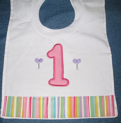 First Birthday Balloons and Stripes Bib