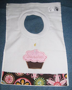 Pink & Chocolate Brown Birthday Cupcake Bib