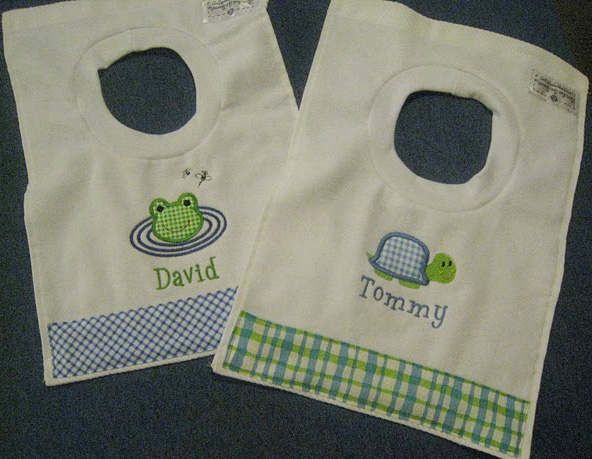 Blue & Green Gingham Frog and Turtle Bib