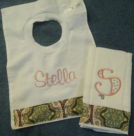 Lovely Damask Patterned Bib