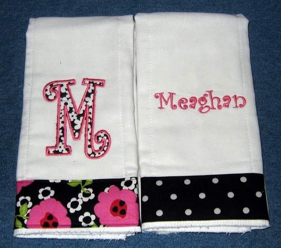 Black & Bright Pink Floral Burp Cloth