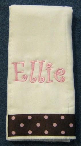 Curlz Font 2 with Polka Dot Trim Burp Cloth