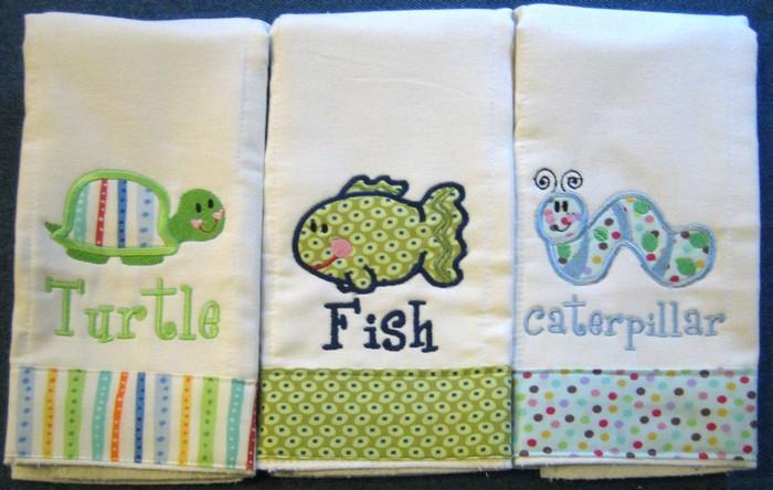 Turtle, Fish & Caterpillar Burp Cloth