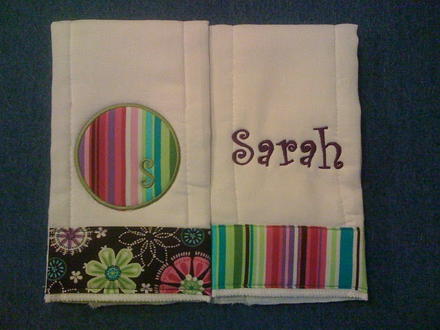 Whimsy Floral or Stripe Burp Cloth