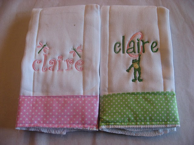 Pink Gingham Dragonfly or Green Gingham Frog Burp Cloth