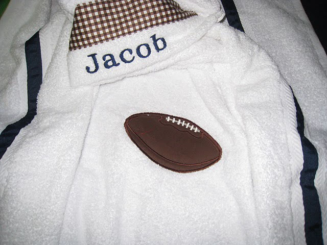 Brown Gingham Football Hooded Towel