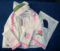 Pink & Green Garden Hooded Towel
