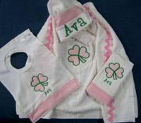 Pink & Green Shamrock Hooded Towel