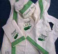 Green Gingham Sweet Pea Hooded Towel