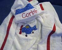 Blue Polka Dot Airplane Hooded Towel