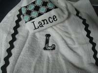 Black & Light Blue Modern Argyle Hooded Towel