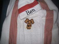 Happy Puppy Red Polka Dots & Stripes Hooded Towel