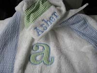 Blue & Green Seersucker Hooded Towel