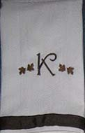 Brown Autumn Leaf Hostess Towel