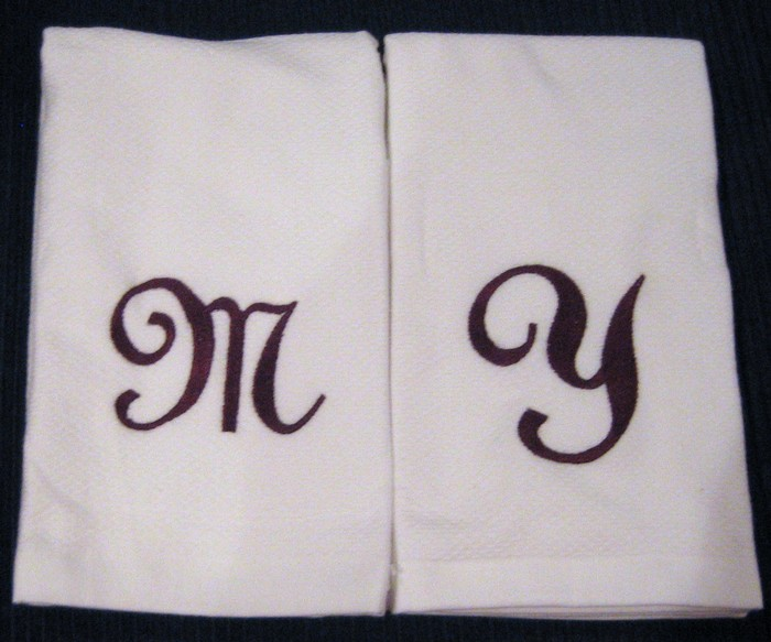 Fancy Script Hostess Towel