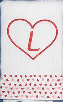 Valentine Heart Hostess Towel