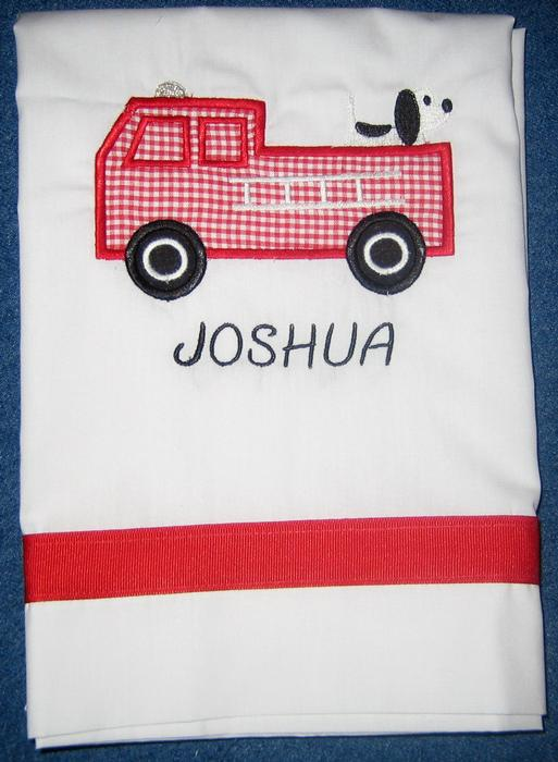 Gingham Firetruck Pillowcase