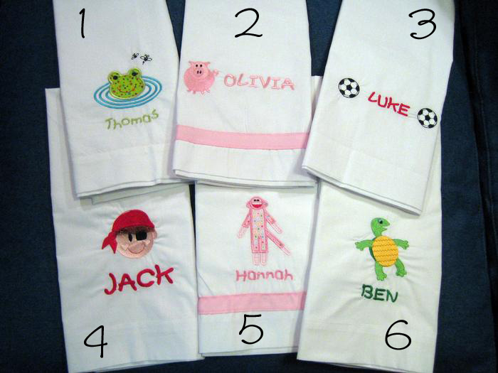 Frog, Pig, Soccer, Pirate, Sock Monkey & Turtle Pillowcase