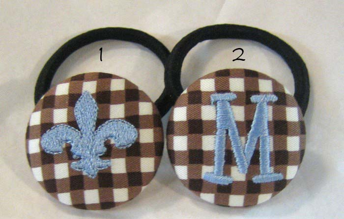 Chocolate Gingham Pony Tail Holder