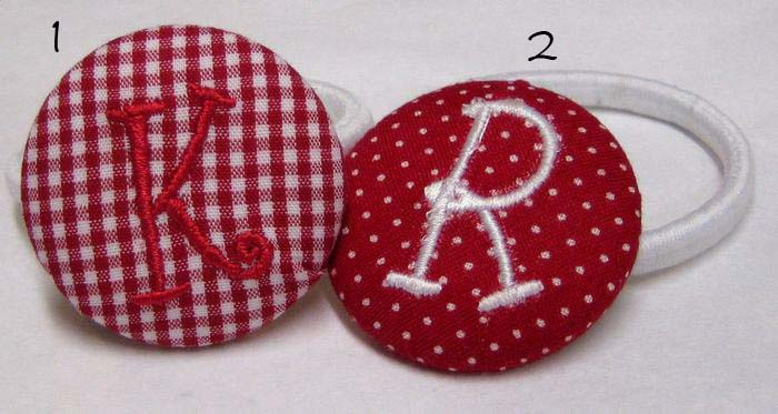 Red Gingham & Swiss Dots Pony Tail Holder
