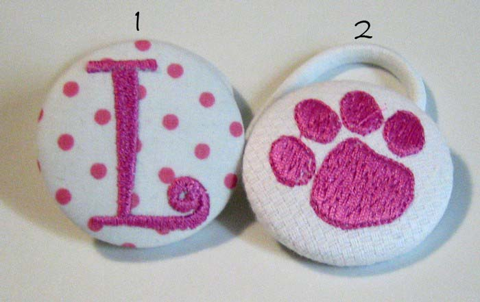 Hot Pink Dots & Paw Print Pony Tail Holder