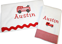 Firetruck and Puppy Bib
