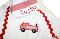 Firetruck and Puppy Hooded Towel