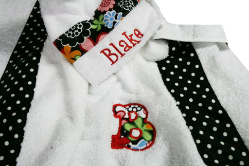 Flowers and Dots Hooded Towel