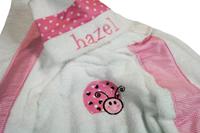 Pink Heart Ladybug Hooded Towel