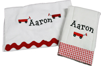 Preppy Red Wagon Bib