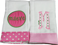Preppy Pink or Green Burp Cloth