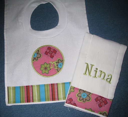 Pink Stitches and Stripes Bib