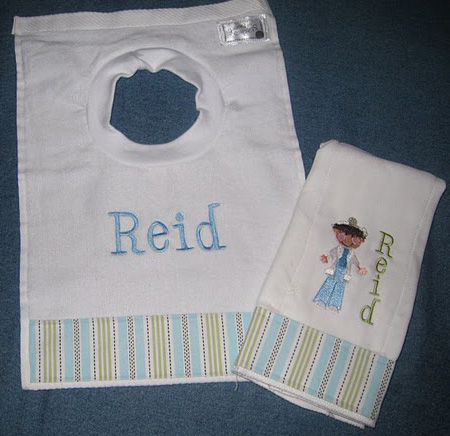 Blue Stitched Stripes Bib
