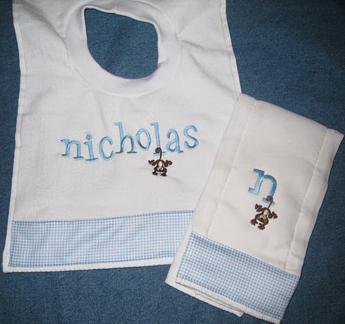 Baby Blue Monkey Business Gingham Bib