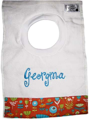 Sunny Font with Floral Trim Bib